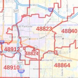East Lansing ZIP Code Map, Michigan